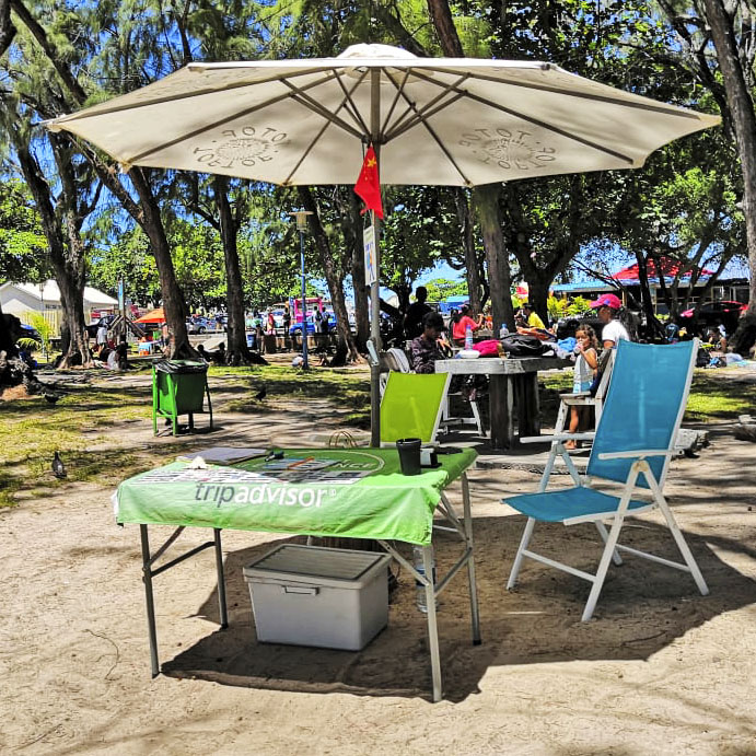 Totof Tours stand Blue Bay Public Beach