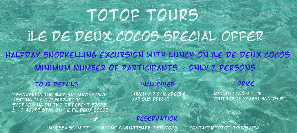 Totof Tours halday snorkelling offer with picnic creole on ile des deux cocos